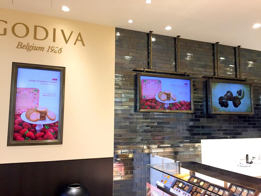 GODIVA様にデジタルサイネージを導入いただきました。店内プロモーション用としてご活用いただいております。